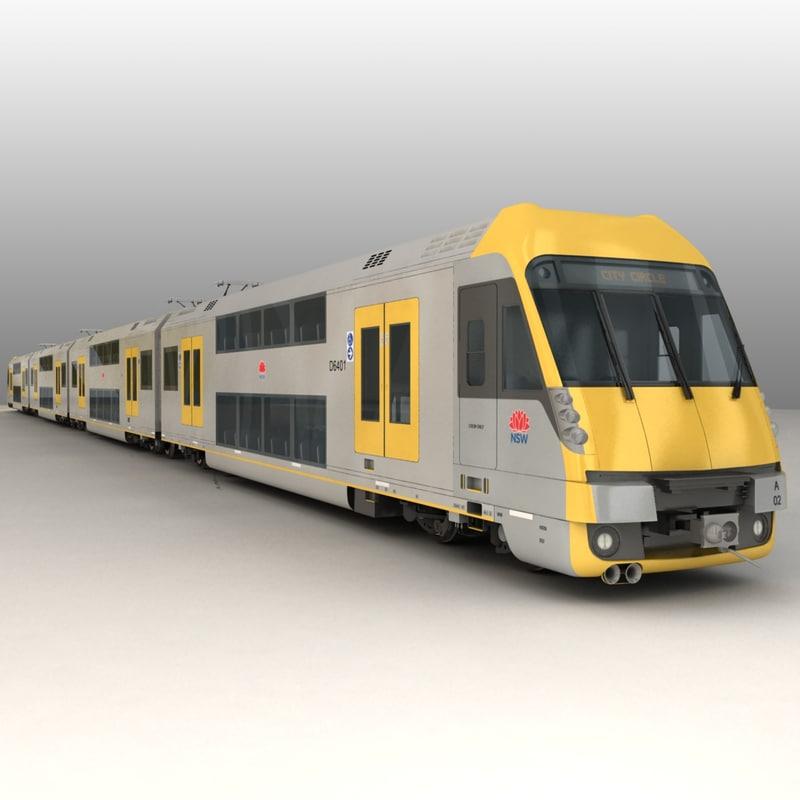 city rail set emu 3d max