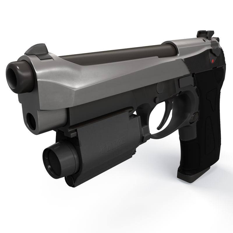 photoreal beretta handgun gun 3d model