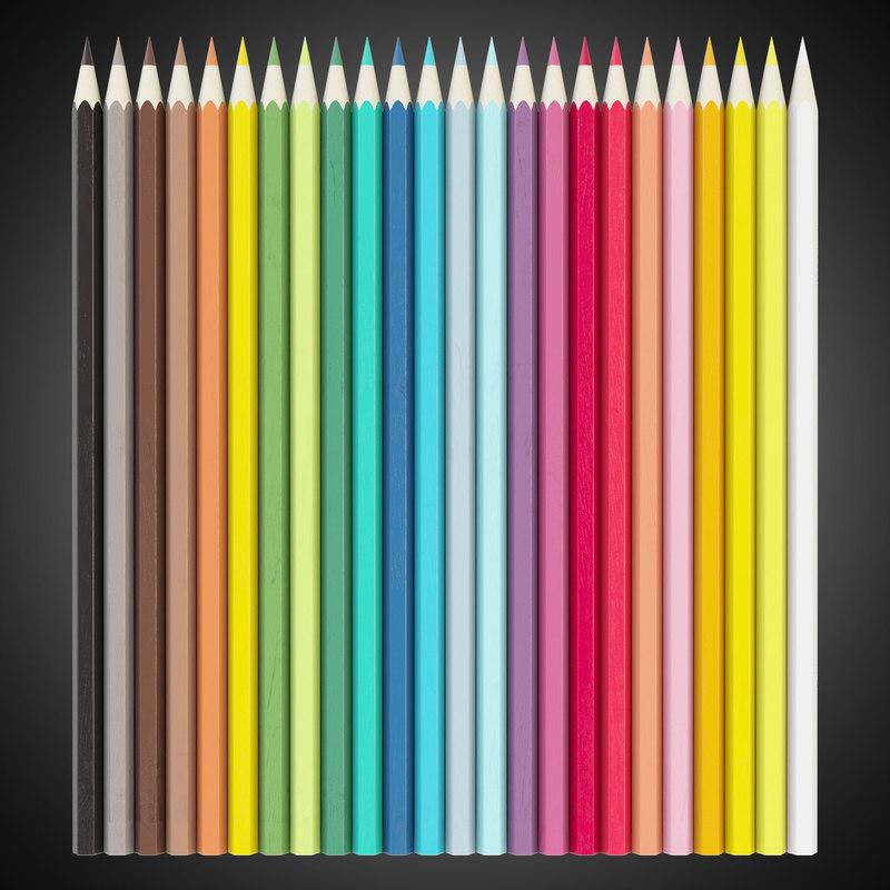 colored pencil set 3d model