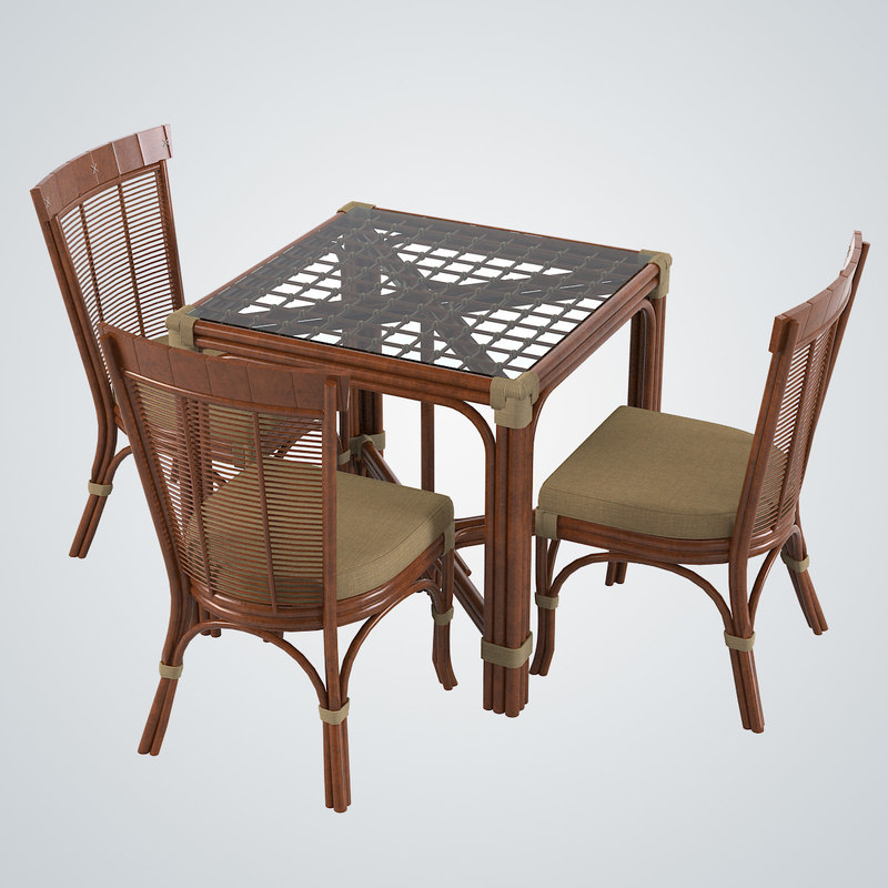 3d model rattan table dining chair
