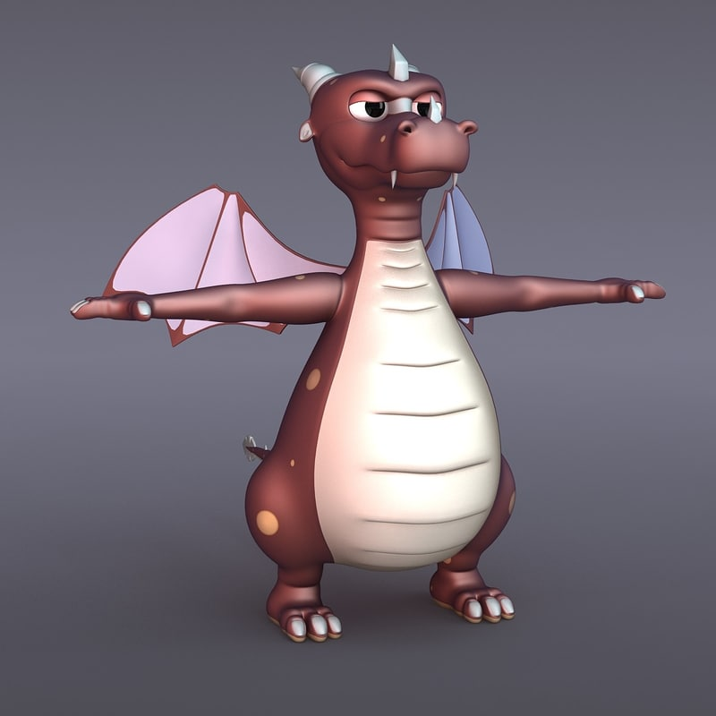 3d draco dragon rigged model