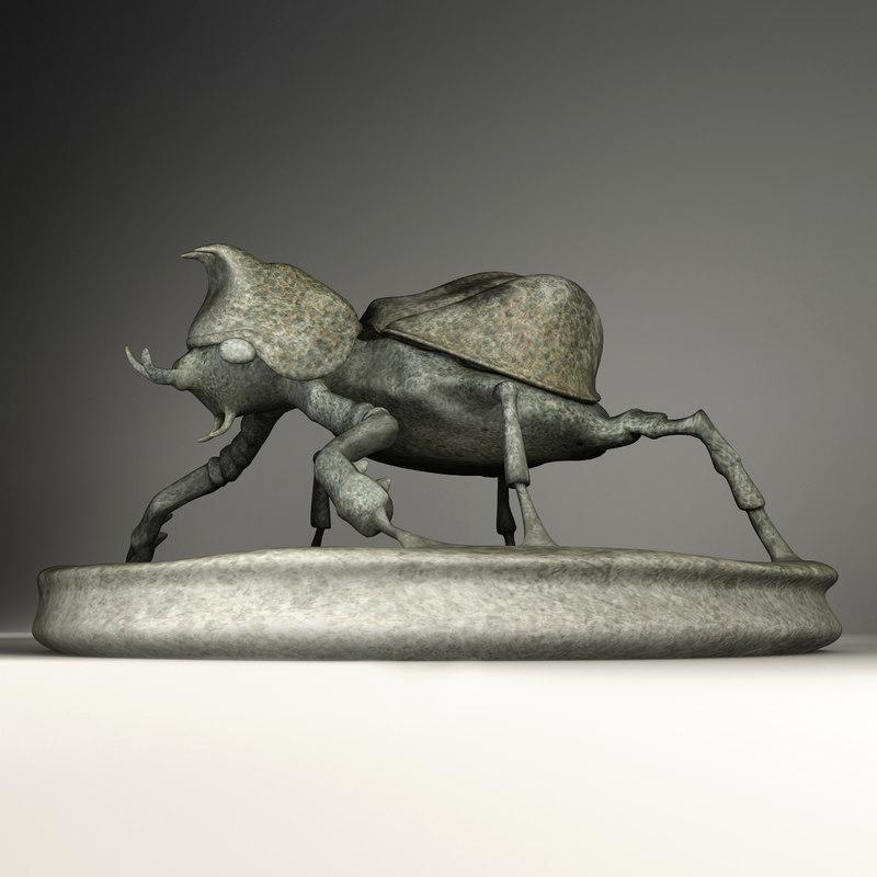 rhino beetle statuette 3d max