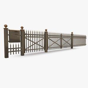 3d palisade fence model