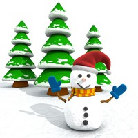 cinema4d snowman snow