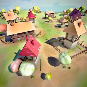 3d model cartoon village landscape