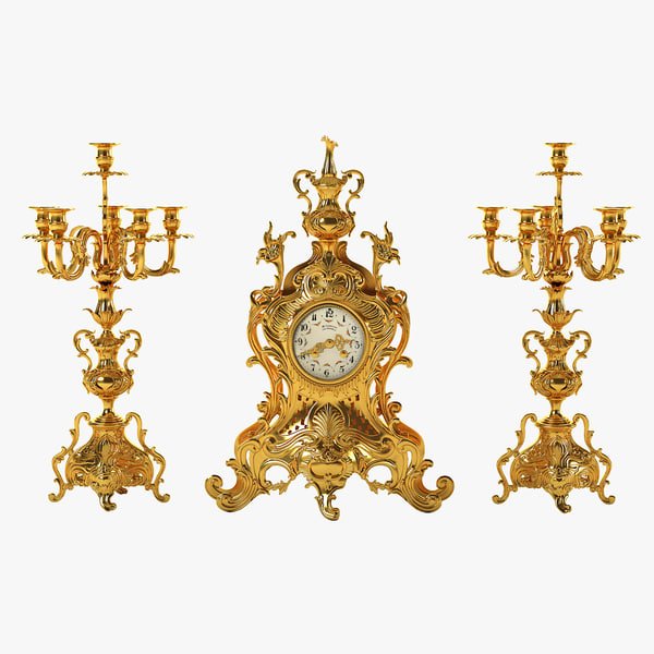3d model antique clock set