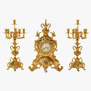 3d model antique clock set
