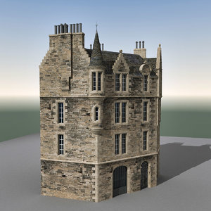 3ds max building edinburgh scene