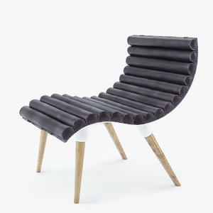 3d model castor design curve chair
