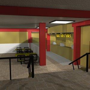 free fast food restaurant 3d model