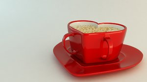 3dsmax heart shaped coffee cup