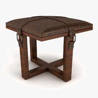 leather padded stool obj