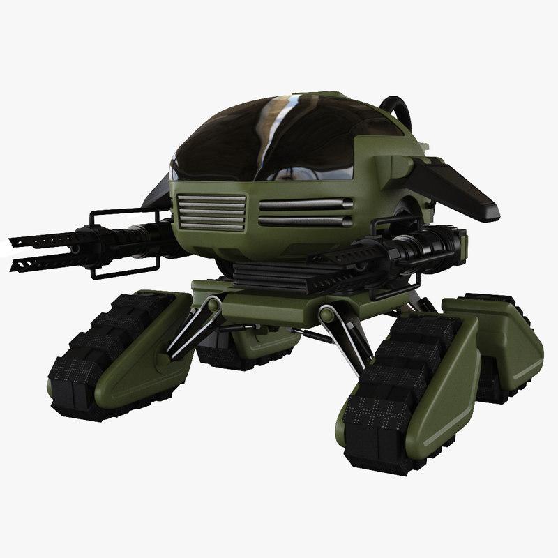 3d model sci-fi military robot