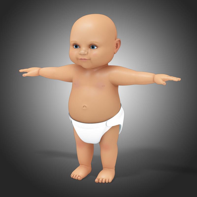 3dsmax caucasian baby