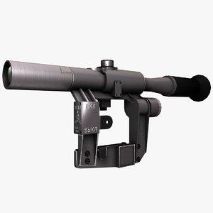 3d model optical sniper sight