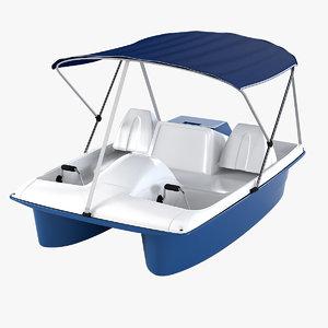 water wheeler pedal boat 3d obj
