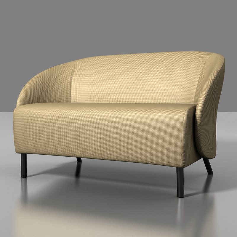 3d model keilhauer croft 2-seater sofa