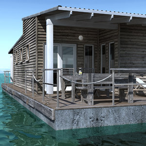 3d modeled floating house model