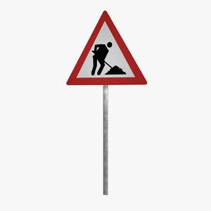 3d model danger sign