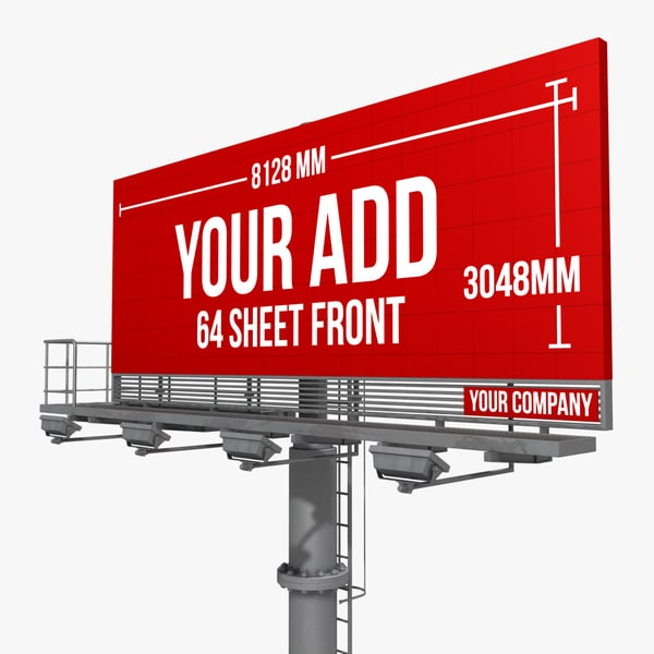3d billboard 64 sheet single model