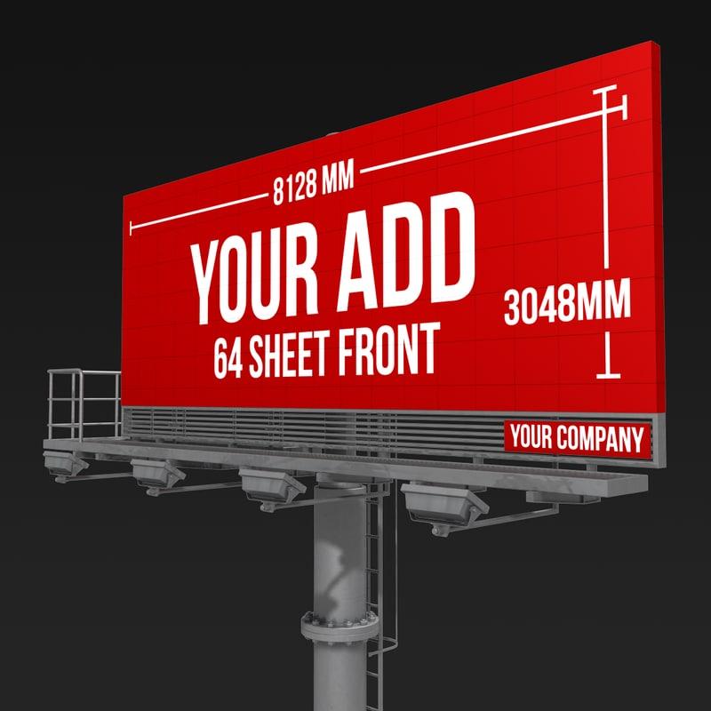 3d billboard 64 sheet single model