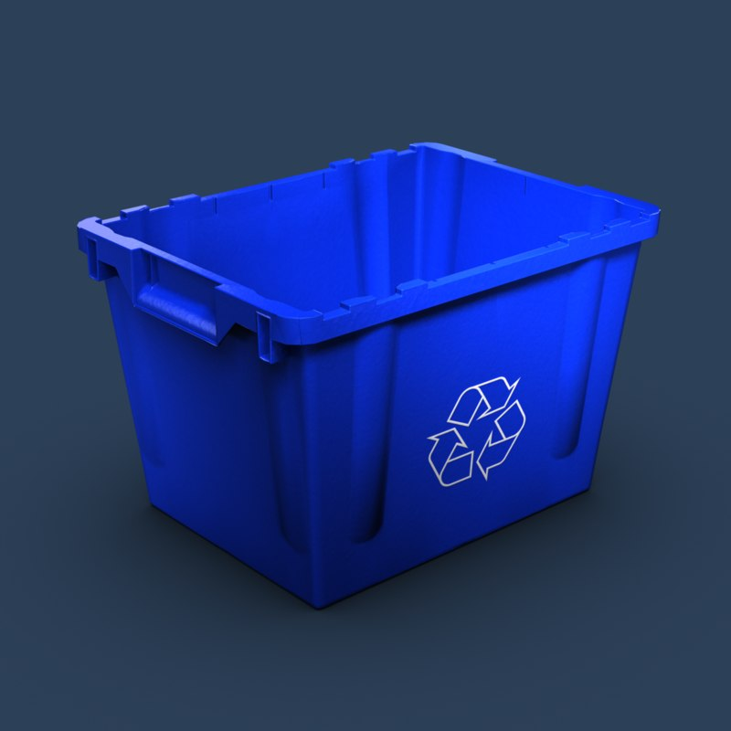 3d model blue recycling bin