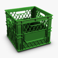 colored plastic milk crate 3d max