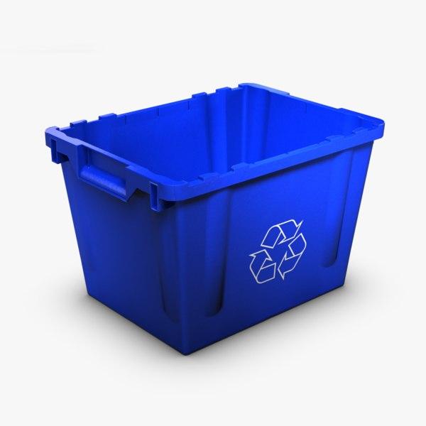 3d model blue recycling bin