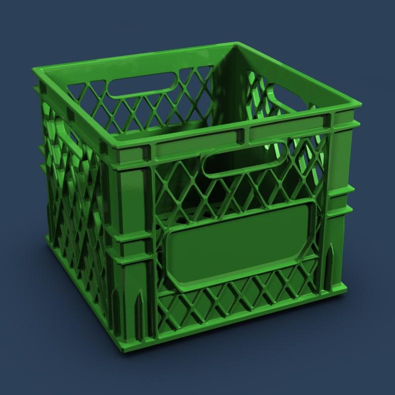 colored plastic milk crate 3d max