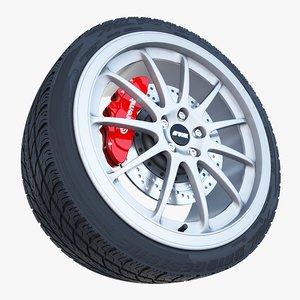 work emotion 11r wheel tire 3d model