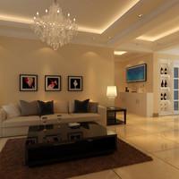 3d modern living room model