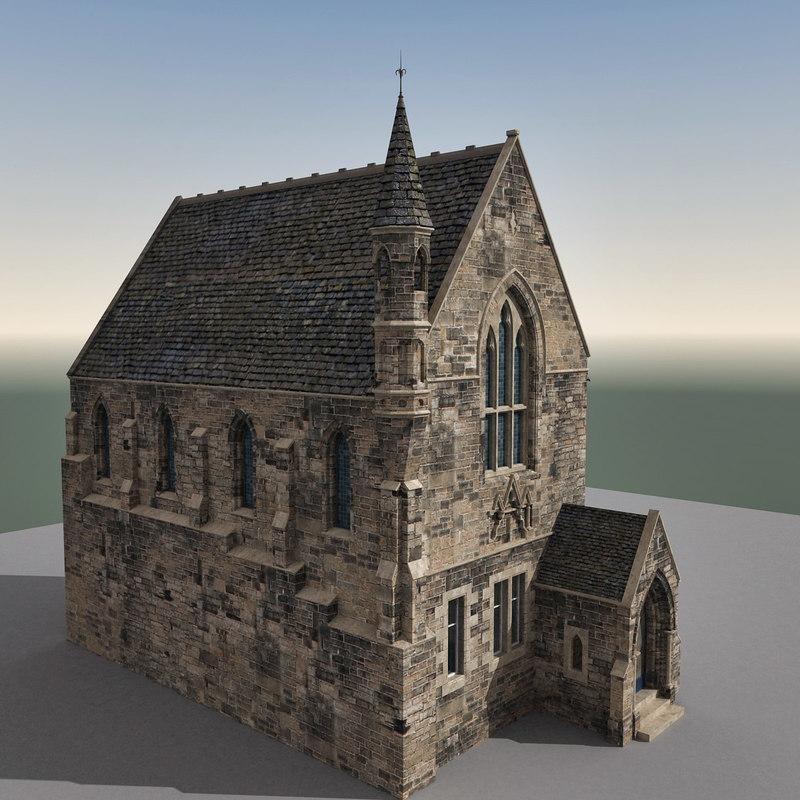 3d model building edinburgh scene