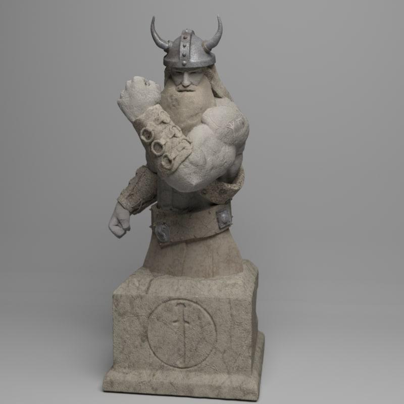 3d model viking strength statue