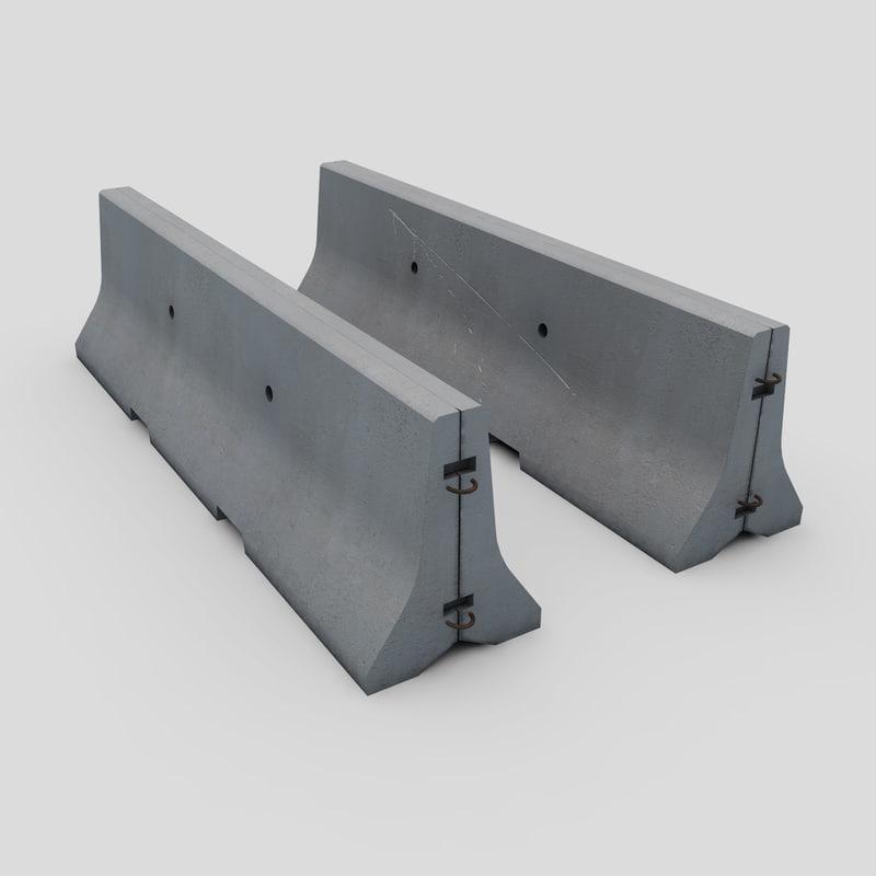 concrete road barrier 3d 3ds