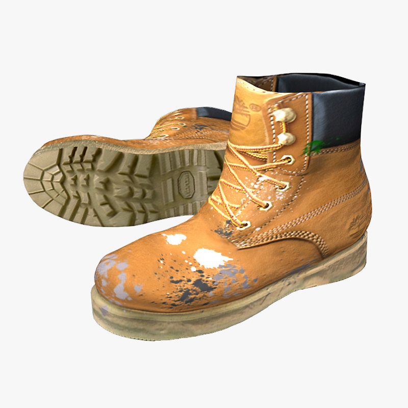 free ready timberland working boots 3d model