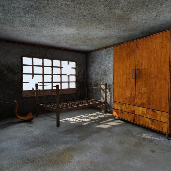 3d abandoned room interior model