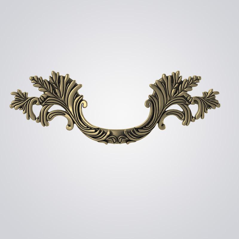 classical style door handle 3ds