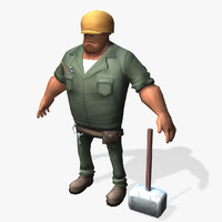 Real-Time Cartoon Worker 3D Model