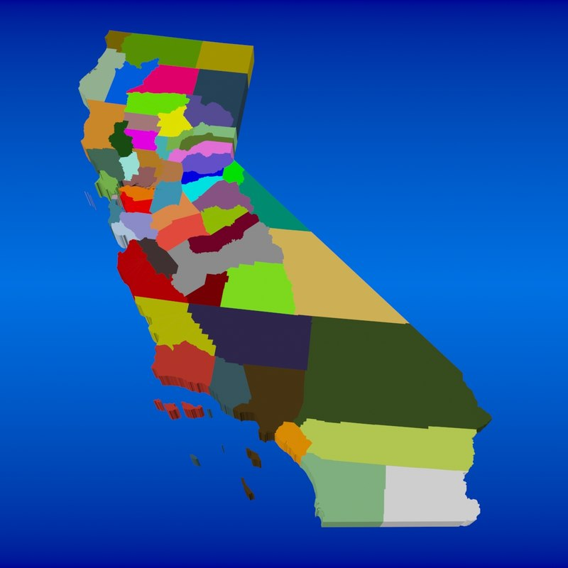 counties state california 3d max