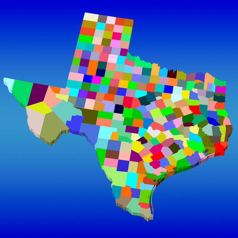 3d counties texas model