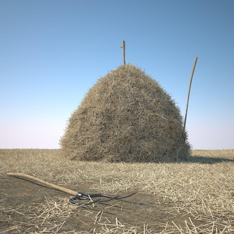 hay stack landscape 3d model