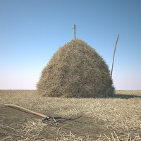 hay stack landscape 3d model