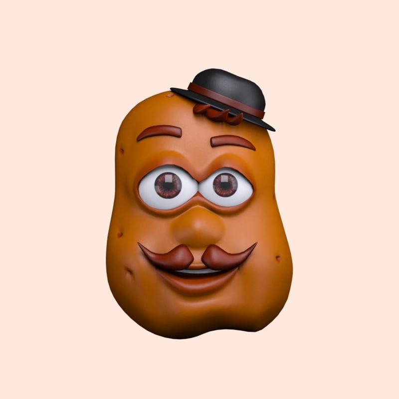 3d cartoon character potato model