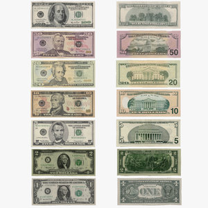 3d dollars mapped banknote