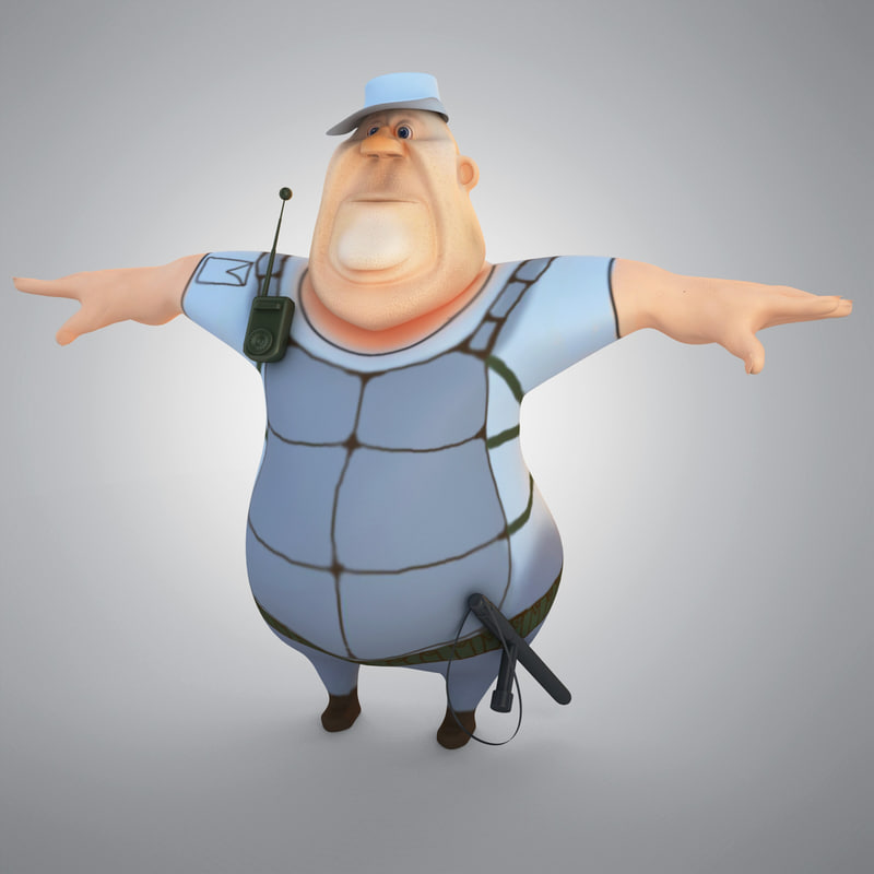 cartoon police man 3d max