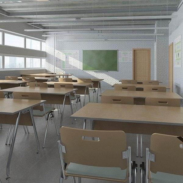 classroom interior design 3d model