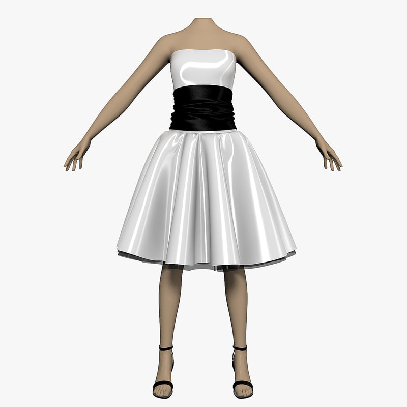 dress white female mannequin 3ds