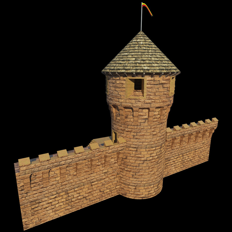 realistic medieal castle tower obj