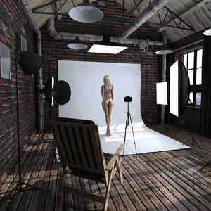 loft photo studio 3d model