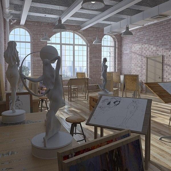 3d drawing studio class interior
